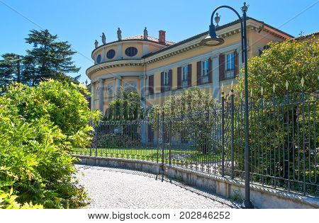 Como Italy - August 30 2010: View of Villa Saporiti in the lakefront