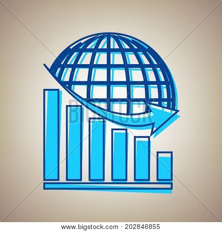 Declining graph with earth. Vector. Sky blue icon with defected blue contour on beige background.