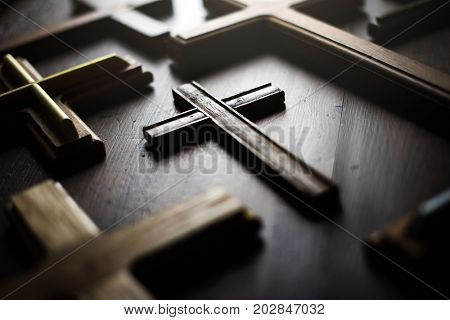A wooden cross on the table