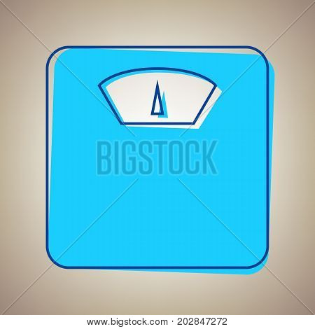 Bathroom scale sign. Vector. Sky blue icon with defected blue contour on beige background.