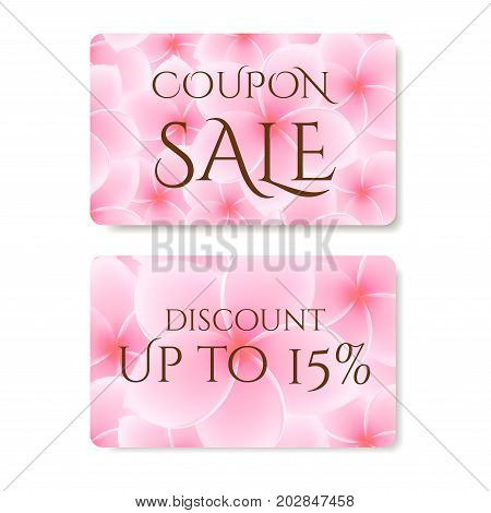 Gift coupon, Gift Card (Discount Voucher) with  flower (Plumeria, Frangipani pattern. Floral background design for invitation, ticket. Vector