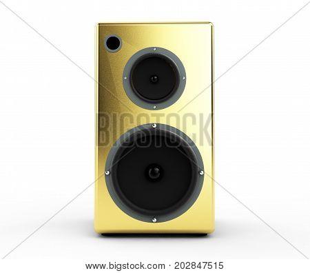 gold speaker column on a white background 3d render