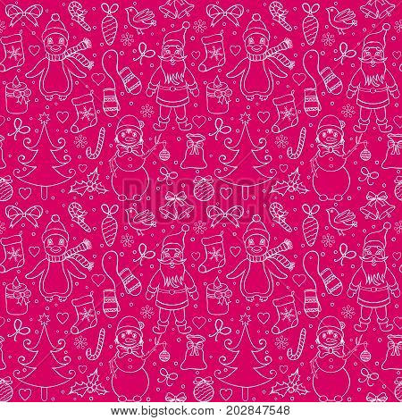 seamless christmas pattern with various characters.vector illustration.