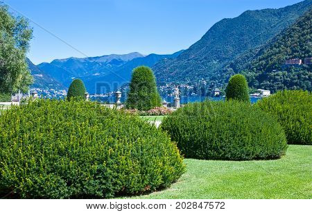 Italy Como the Villa Olmo garden in the lakefront