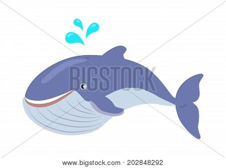 Blue whale cartoon character. Cute whale spray water flat vector isolated on white background. Aquatic fauna. Whale icon. Animal illustration for zoo ad, nature concept, children book illustrating