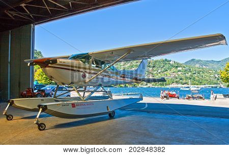 Como Italy - August 30 2010: A seaplane in the angar on the lakefront