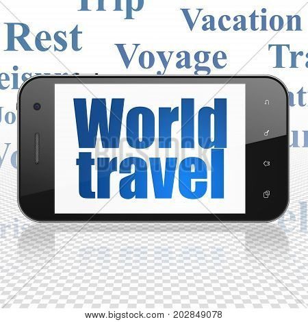Vacation concept: Smartphone with  blue text World Travel on display,  Tag Cloud background, 3D rendering