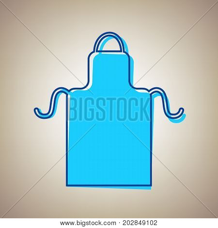 Apron simple sign. Vector. Sky blue icon with defected blue contour on beige background.