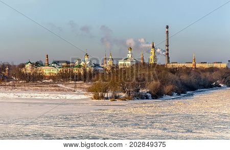 Winter landscape of the city of Kolomna, Moscow region in the winter cold snowy day. Panoramic view of the monastery. The horizontal frame.
