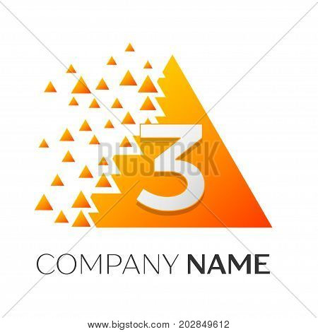 Realistic number three vector logo symbol in the colorful triangle with shattered blocks on white background. Pixel Motion. Vector template for your design