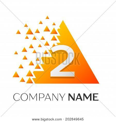 Realistic number two vector logo symbol in the colorful triangle with shattered blocks on white background. Pixel Motion. Vector template for your design