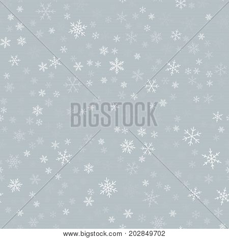 White Snowflakes Seamless Pattern On Light Grey Christmas Background. Chaotic Scattered White Snowfl