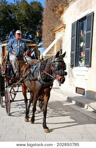 MDINA, MALTA - MARCH 29, 2017 - Horse and carriage along a city centre street Mdina Malta Europe, March 29, 2017.