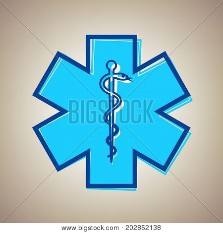 Medical symbol of the Emergency or Star of Life with border. Vector. Sky blue icon with defected blue contour on beige background.