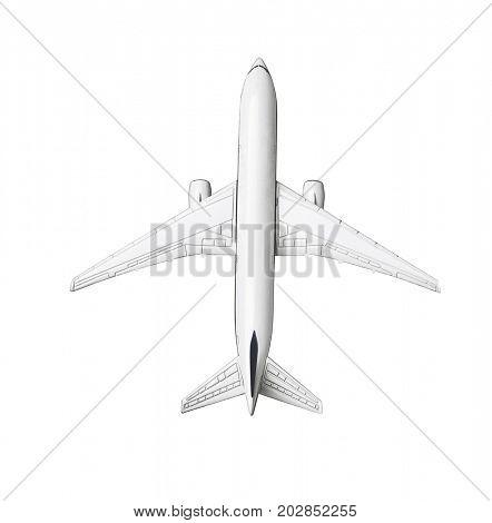 Miniature Model Of Commercial Jetliner on White Background