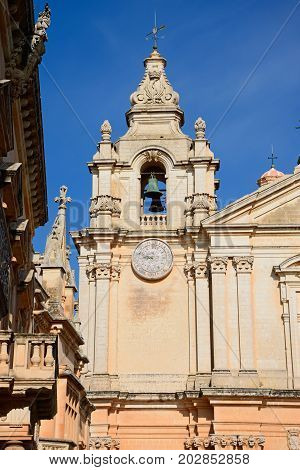St Pauls Cathedral bell tower also known as Mdina Cathedral Mdina Malta Europe.