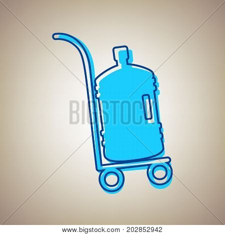Plastic bottle silhouette with water. Big bottle of water on track. Vector. Sky blue icon with defected blue contour on beige background.