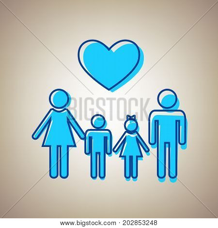 Family symbol with heart. Husband and wife are kept children's hands. Vector. Sky blue icon with defected blue contour on beige background.