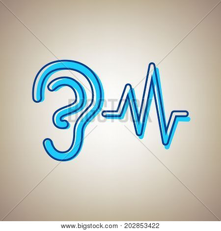 Ear hearing sound sign. Vector. Sky blue icon with defected blue contour on beige background.