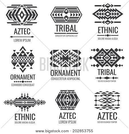 Mexican aztec symbols. Vintage tribal vector ornaments. Illustration of traditional native navajo decoration ethnic element