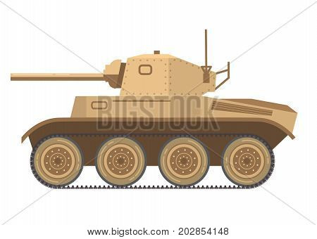 The English military tank of World War II the average military in desert a camouflage vector in flat.Weapon concept for your design.Artillery cannon. Armored gun tank.Military armored fighting vehicle