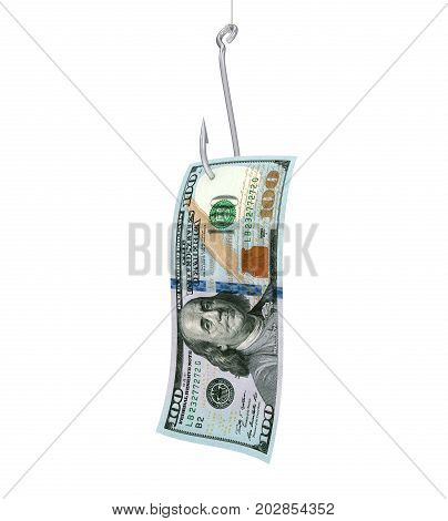 Fishing Hook and Hundred Dollar Banknote isolated on white background. 3D render