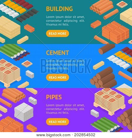 Construction Material Banner Horizontal Set Isometric View Supply for Renovation of Buildings Design Element Web. Vector illustration