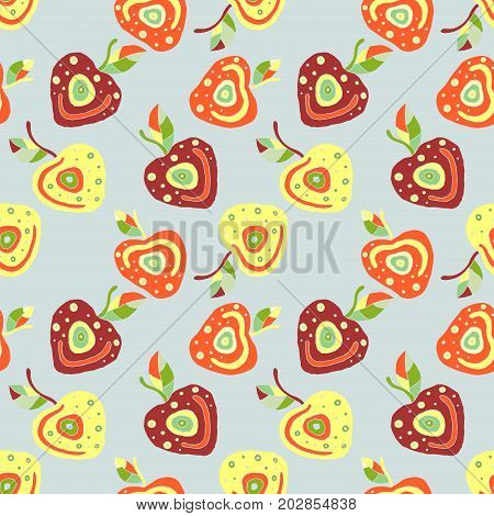 Seamless Vector Hand Drawn Childish Pattern, Border With Fruits. Cute Childlike Cherry With Leaves,
