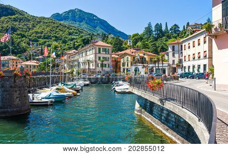 Lenno Italy - August 31 2010: The harbour on the Como lake