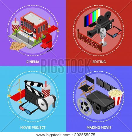 Cinema Movie Film Poster Card Set Isometric View Exterior Facade for Cinematography Show Business and Elements. Vector illustration