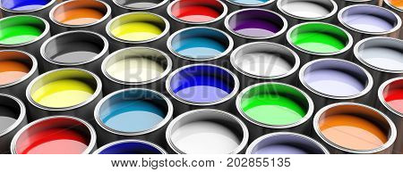 Colorful paint pots full background 3d illustration