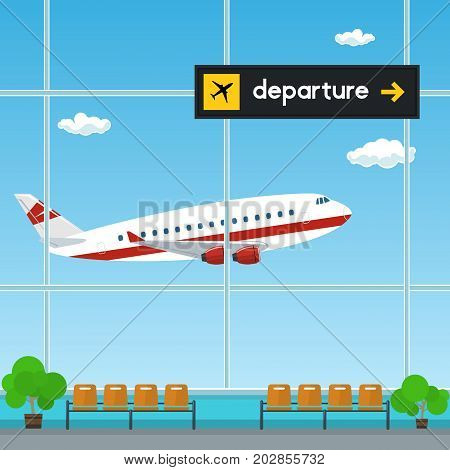 Waiting Room at the Airport View of a Flying Airplane through the Window from a Waiting Room Scoreboard Departures from Airport Travel Concept Flat Design Vector Illustration