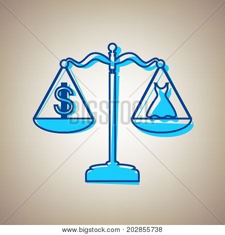 Dress and dollar symbol on scales. Vector. Sky blue icon with defected blue contour on beige background.