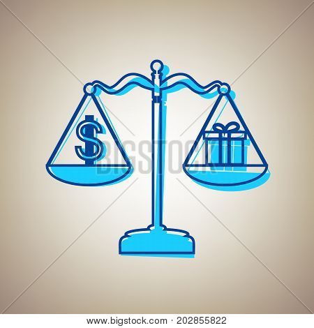 Gift and dollar symbol on scales. Vector. Sky blue icon with defected blue contour on beige background.
