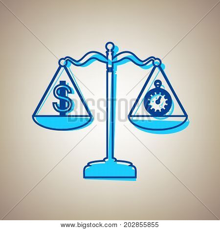 Stopwatch and dollar symbol on scales. Vector. Sky blue icon with defected blue contour on beige background.