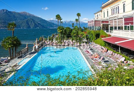 Bellagio Italy - August 31 2010: A luxury hotel swimming pool
