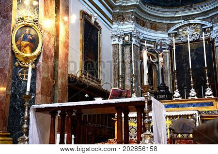 MDINA, MALTA - MARCH 29, 2017 - Elaborate altar inside St Pauls Cathedral also known as Mdina Cathedral Mdina Malta Europe, March 29, 2017.
