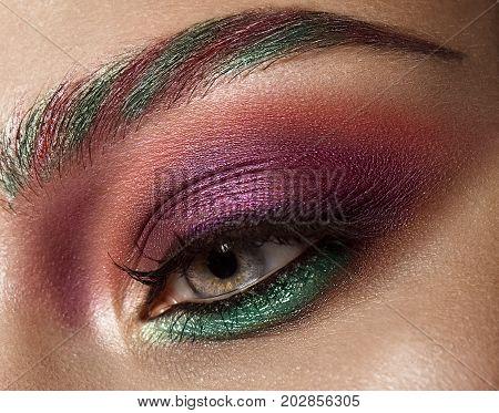 Closeup shot of female eye with colorful eyes shadows and eyelashes makeup