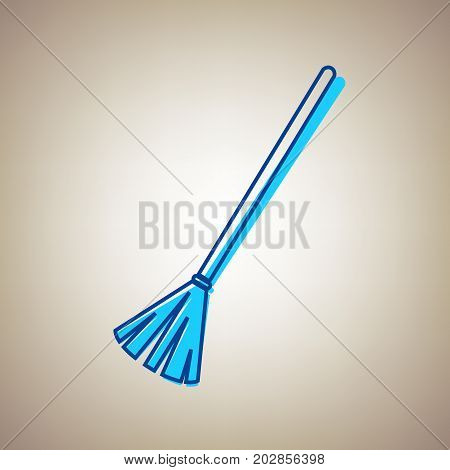 Sweeping broom sign. Vector. Sky blue icon with defected blue contour on beige background.