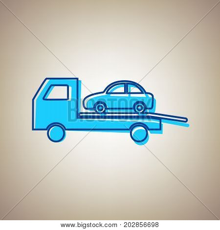 Tow car evacuation sign. Vector. Sky blue icon with defected blue contour on beige background.