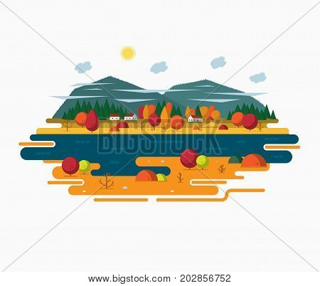 Autumn landscape vector illustration in flat style. Autumn nature - sun forest river moutains trees clouds