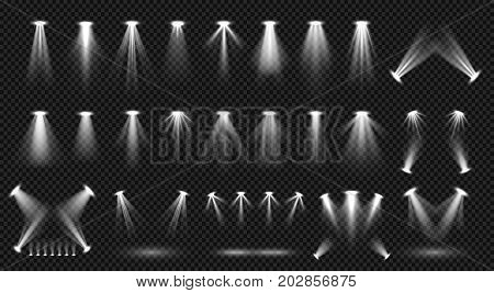 Spot lighting isolated on transparent background vector collection. Bright scene illumination. Spotlight bright for scene party, shine and glow beam illustration