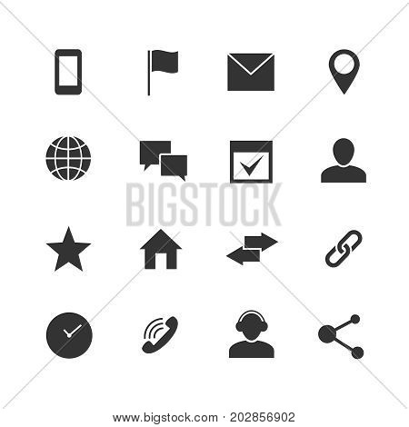 Contact and communication internet vector icons. Home, phone and email web symbols. Contact monochrome sign illustration