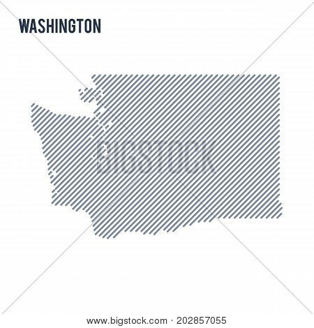 Vector Abstract Hatched Map Of State Of Washington With Oblique Lines Isolated On A White Background