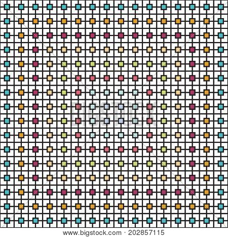 Abstract square shape pattern overlapping with lines. Vector Illustration