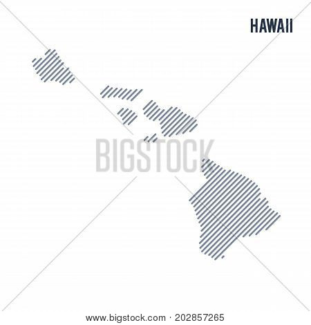 Vector Abstract Hatched Map Of State Of Hawaii With Oblique Lines Isolated On A White Background.