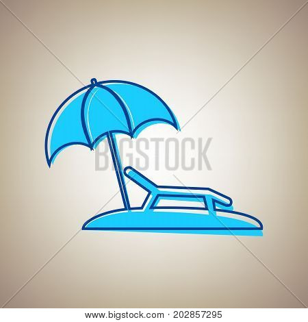 Tropical resort beach. Sunbed Chair sign. Vector. Sky blue icon with defected blue contour on beige background.