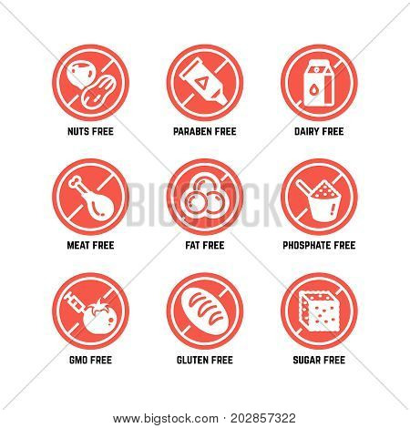 Food dietary symbols. Gmo free, no gluten, sugarless and allergy vector icons set. No sugar and gluten, ban gmo amd phosphate illustration