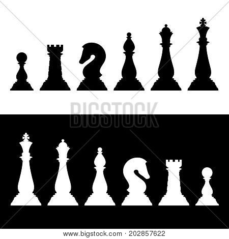 Chess pieces black silhouettes set. Business strategy vector icons king and queen, knight and bishop, rook and pawn illustration