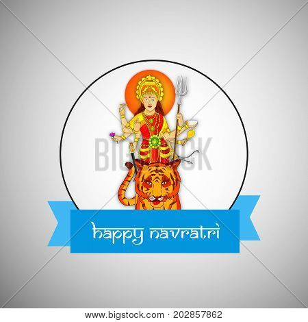 illustration of Hindu Goddess Durga on tiger with Happy Navratri text on the occasion of hindu festival Navratri